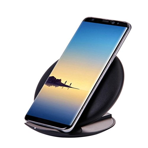 DZT1968 Ultrathin lightweight portable Qi Fast Wireless Charger Rapid Charging Stand for Samsung Galaxy Note 8/S8 / S8 Plus 120x110x20mm (Black)