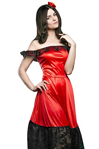 [Adult Women Flamenco Dancer Costume Gypsy Girl Carmen Role Play Spanish Dress Up (Medium/Large, Red, Black)] (Latin Themed Costumes)