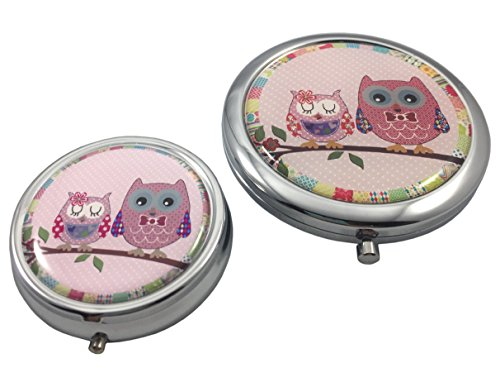 (Pretty Owls Magnifying Makeup Mirror Compact and Pill Case Gift Set)