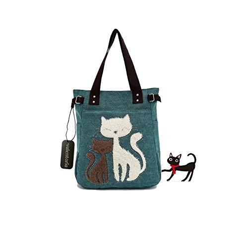 Year End Clearance Sale-Valentoria® Cute Cat Design Multifunction Women's Canvas Zipper Closure Handbag Shoulder Lunch Tote Bag with Large Capacity Best Gifts for Teen Girls (Green)