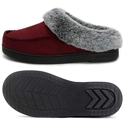 Foam Slippers Suede Micro Collar Shoes Ultraideas House Non Skid Fur Burgundy faux W Memory Women's Comfort 6EqXX4nY
