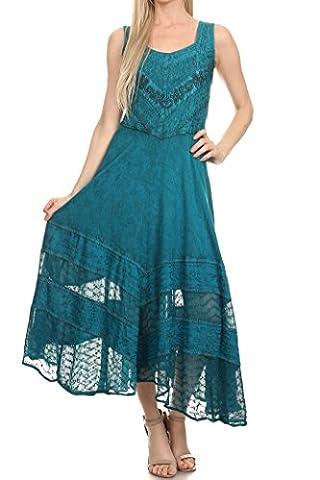 Sakkas 15225 - Zendaya Stonewashed Rayon Embroidered Floral Vine Sleeveless V-neck Dress - Turquoise Blue - (Sakkas 3x)
