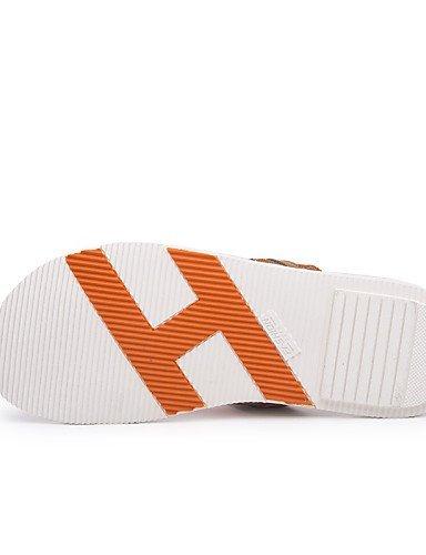 ShangYi Herren Sandaletten Herrenschuhe-Outddor / Lässig-Sandalen-Leder / Leinwand-Blau / Grau / Orange Blue