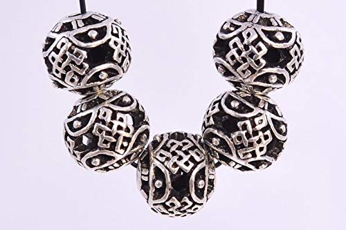 Knot Spacer - 10 Pcs - 8MM Antique Silver Tone Tibetan Chinese Knot Round Spacer Beads for Jewelry Making