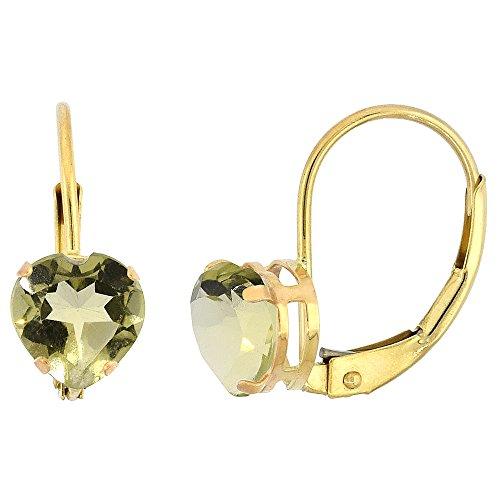 10k Yellow Gold Natural Lemon Quartz Leverback Earrings 6mm Heart Shape 1.5 ct, 9/16 (Gold Lemon Quartz Ring)