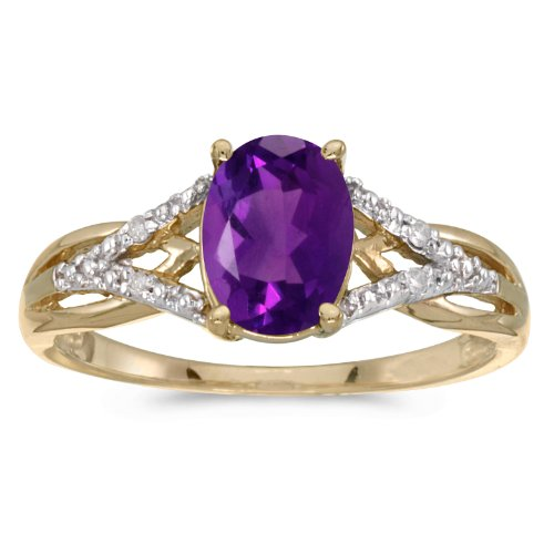 Jewels By Lux 14k Yellow Gold Genuine Purple Birthstone Solitaire Oval Amethyst And Diamond Wedding Engagement Ring - Size 8.5 (1 Cttw.)