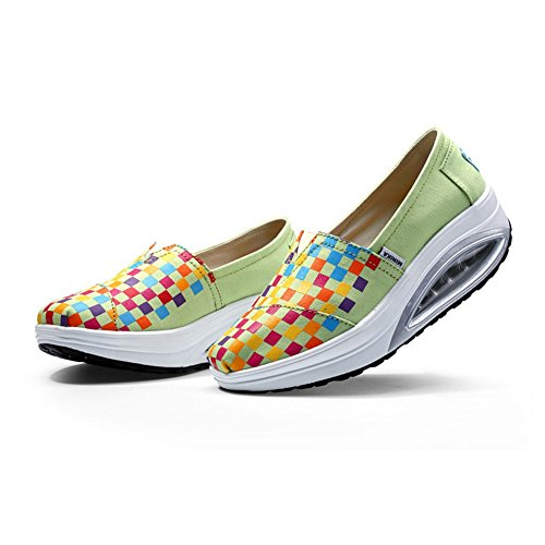 Womens Waking Sneakers Slip On Grid Breathable Canvas Waking Shoes By Btrada Green lTI4D1