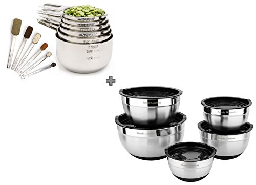 Measuring Cups and Measuring Spoons with Mixing Bowls Combo Set by Simply Gourmet. Contains 12 piece Measuring Cups and Spoons Set and 5 Piece Mixing Bowl Set