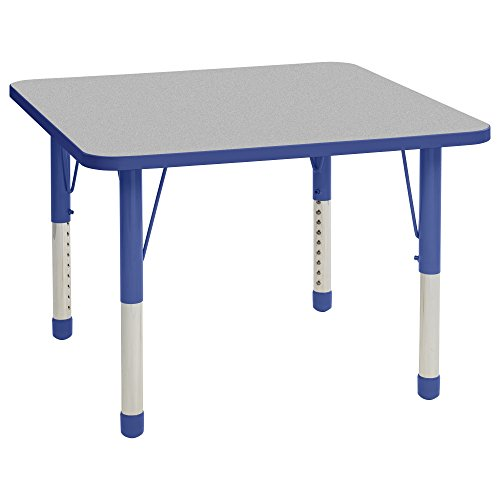 ECR4Kids 36'' Square Activity School Table, Chunky Legs, Adjustable Height 15-24 inch (Grey/Blue) by ECR4Kids (Image #7)