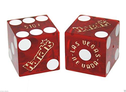 Pair (2) HARRAH'S CASINO Las Vegas 19mm Red Dice Table Played Authentic