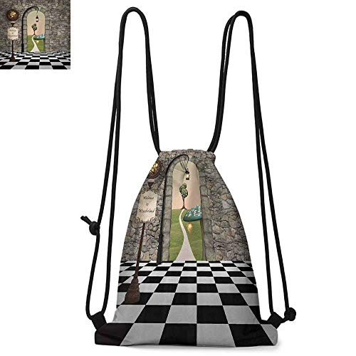 Alice in Wonderland Drawstring backpack series Welcome Wonderland Black and White Floor Tree Landscape Mushroom Lantern Convenient choice for daily activities W17.3 x L13.4 Inch Multi