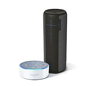 UE MEGABOOM Charcoal Black Wireless Mobile Bluetooth Speaker (Waterproof and Shockproof) + All-New Echo Dot (2nd Generation) - White