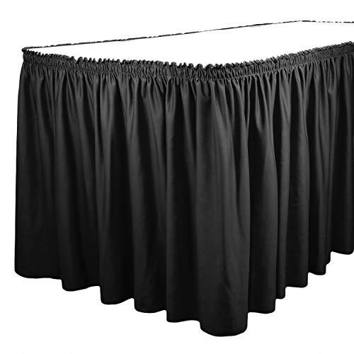 TableLinensforLess Polyester Table Skirt, Table Height (13 Foot Shirred Pleat, Black) ()