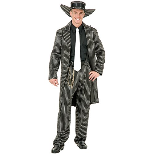 Charades Men's Zoot Suit with Chain, Black/White,