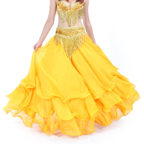 BellyLady Belly Dance Skirt Halloween Tribal Chiffon Tiered Maxi Full Skirt YELLOW -