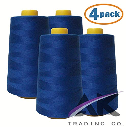 AK Trading 4-Pack Royal Blue All Purpose Sewing Thread Cones (6000 Yards Each) of High Tensile 40S/2 Polyester Thread Spools for Sewing, Quilting, Serger Machines, Overlock, Merrow & Hand Embroidery