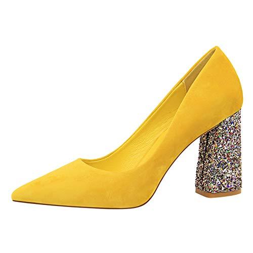 A 36 EU FLYRCX Pointy épais des Chaussures Simples de tempéraHommest élégant Chaussures de Travail Les Les dames à Talons Hauts