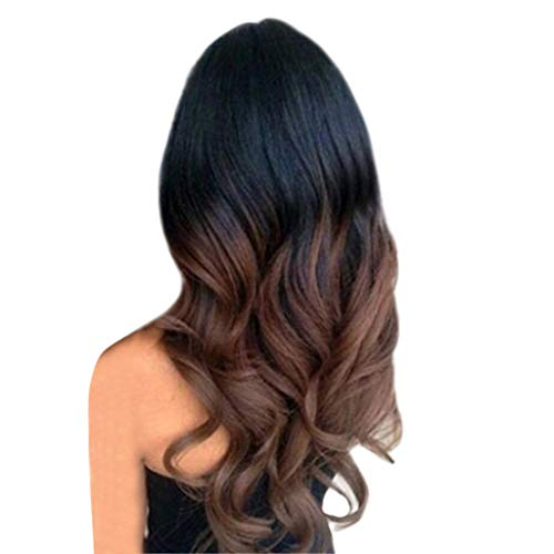 Baulody 25 inches Lady Miranda Ombre Wig Black to Blonde High Density Heat Resistant Synthetic Hair Weave Full Wigs for Women (Brown) ()