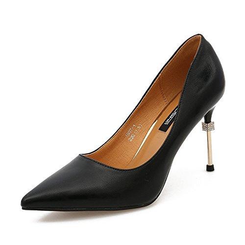 kphy Ressort de lumière la salive Pointe du Foret 8,5cm Talons hauts de femmes et noir Fein polyvalente avec des chaussures