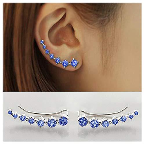 (7 Crystals Ear Cuffs Hoop Climber S925 Sterling Silver Earrings Hypoallergenic Earring (Light)