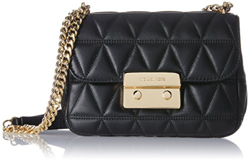 (MICHAEL Michael Kors Sloan Small Quilted-Leather Shoulder Bag - Black / Gold)