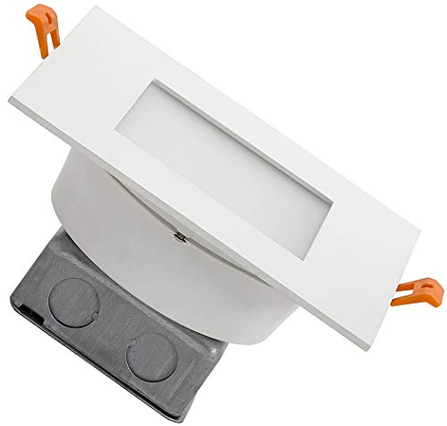 Square Modern Flush Mount Recessed LED Light | Thin Ceiling Cans Lighting Fixture | Downlight Discs in Drywall | Dimmable 3000K | 7