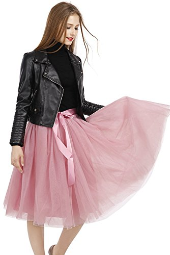 Milano Womens Skirt (MILANO BRIDE Retro Pleated Skirt Chic Cocktail Party Wedding Guest Dress Short -2-Pink)