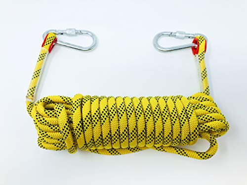 Tufterrain Multi Purpose Rope, Length 10 m.(32 ft),Diameter 10 mm(3/8 in), Fire Escape Safety, Rappelling Rope, Outdoor Rescue Rope with 2 Carbiners.