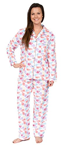 Leisureland Women's Cotton Flannel Pajama Set Crown of Love (Large, White)