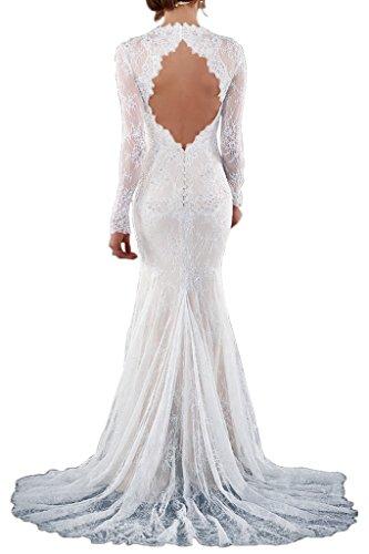 Victory Bridal 2016 Neu Weiss Spitze Langarm Abendkleider Hochzeitskleider Brautkleider Brautmode Meerjungfrau Lang