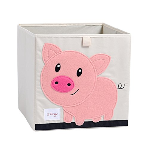 DODYMPS Foldable Animal Canvas Storage Toy Box/Bin/Cube/Chest/Basket/Organizer For Kids, 13 inch (Pig) (3 Canvas Storage Boxes)