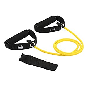 Reehut Single Resistance Band, Exercise Tube - with Door Anchor and Manual, for Resistance Training, Physical Therapy, Home Workouts, Boxing Training - Yellow