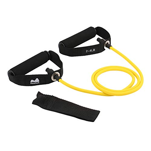 REEHUT Single Resistance Band, Exercise Tube - with Door Anchor and Manual, for Resistance Training, Physical Therapy, Home Workouts, Fitness, Pilates,Boxing Strength Training - Yellow