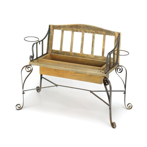 Rustic Iron Wood Bench FLOWER POT PLANTER Box Outdoor Garden Patio Home Decor