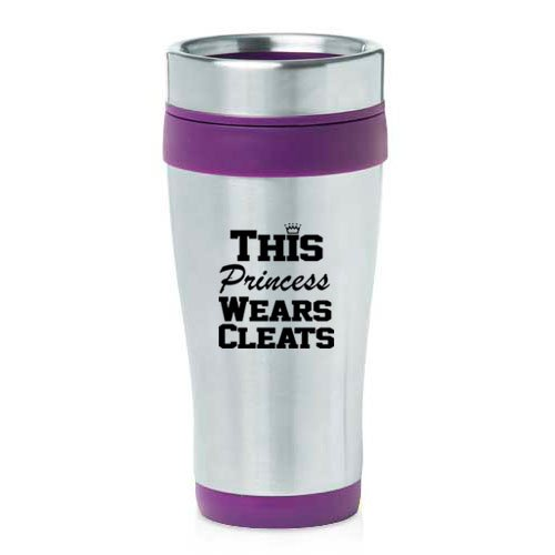 16oz Insulated Stainless Steel Travel Mug This Princess Wears Cleats Softball Soccer Lacrosse (Purple)