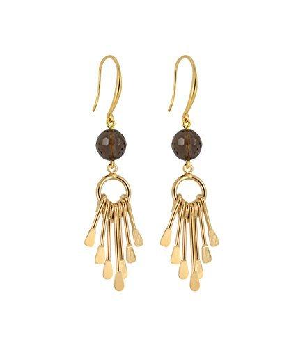Bijou de créateur - Boucles d'oreilles pendantes Femmes- Modèle Cheyenne - Quartz fumé