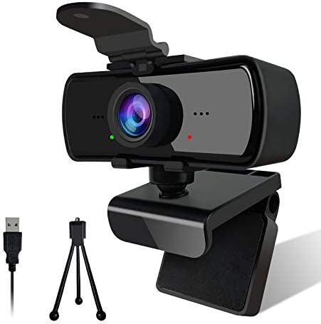 2K Webcam with Dual Microphone,2020 [Upgraded] 1080P HD Webcam with Privacy Cover,Plug and Play USB Web Camera with Tripod for Desktop,Laptop,Mac,Computer,Recording,Calling,Conferencing,Gaming