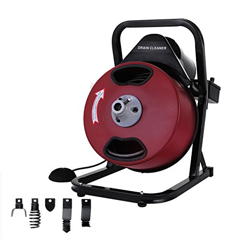 OrangeA Sewer Snake Drill Drain Auger Cleaner 50FT Long 1/2'' Wide Electric Drain Cleaning Machine 4 Cutter & Foot Switch Drain Cleaner Drum Auger Snake for 2