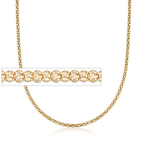 (Ross-Simons Italian 2mm 14kt Yellow Gold Popcorn Chain Necklace)