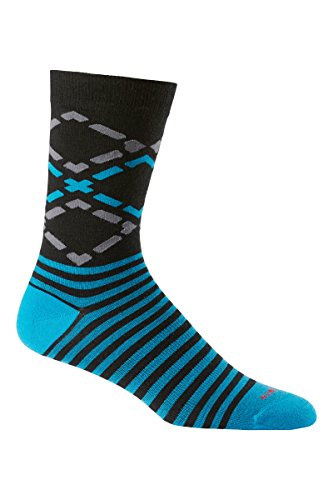 Icebreaker Men's Lifestyle Fine Gauge Ultra Light Crew Diamond Socks, Black/Cruise/Jet Heather, One Size