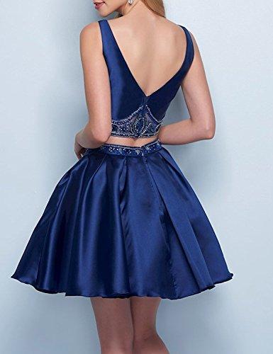 Burgundy Ball Satin Beads Piece Homecoming short BD344 Gowns Two Neck BessDress V Dresses 7qxzqB6w