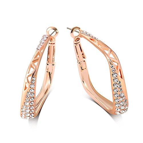 Viennois Hollow Square Rhinestone Hoop Earrings for Women(Rose gold) - Rhinestone Hoop Pierced Earrings