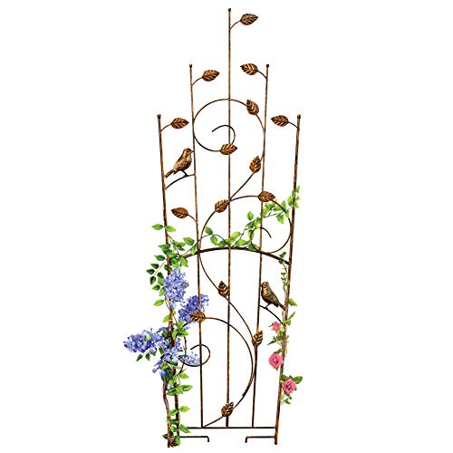 Collections Etc Bird and Leaves Garden Trellis with Rustic Bronze Finish with Scrolling Vine Design, Metal Stake Plant and Flower Support