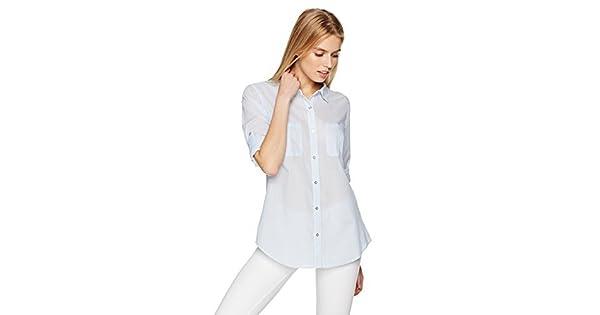 Amazon.com: Calvin Klein Pinstripe de la mujer rollo manga ...