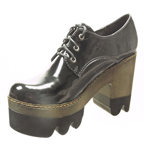 Angkorly - Chaussure Mode Derbies Bottine low boots plateforme femme verni Talon haut bloc 10.5 CM - Noir