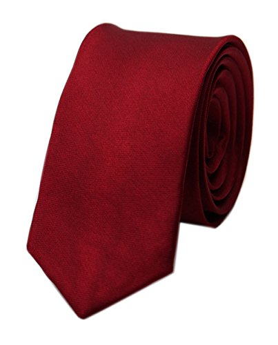 Men's Cherry Red Silk Handmade Business Ties Extra Long Jacquard Woven Dating Red Narrow Tie