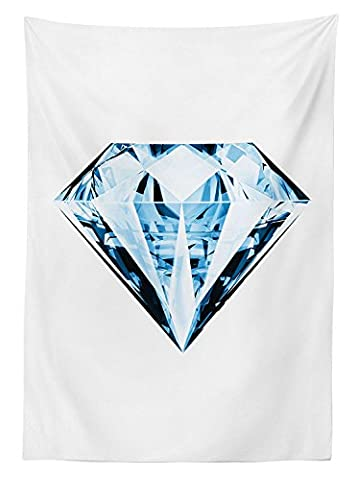 Diamond Decor Tablecloth Big Sparkling Dimensional Transparent Crystal Diamonds Treasure Superman Home Luxury Dining Room Kitchen Rectangular Table Cover Blue