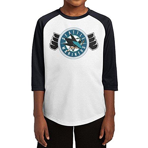 Hotboy19 Youth Boys San Jose Philadelphia Seattle Sport Mix Raglan 3/4 Sleeve T-Shirt Black Size M