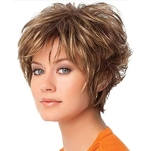 Wig Female New Brown Straight Hair Short Hair Mixed Color Dyed Short Wig ()
