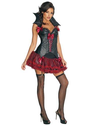 Secret Wishes Women's Midnight Vampira Sexy Vampire Costume, Black/Red, Large (Vampire Fancy Dress Women)